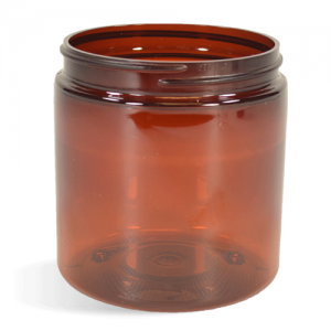Amber, Basic Plastic Jar - 8oz (70/400)