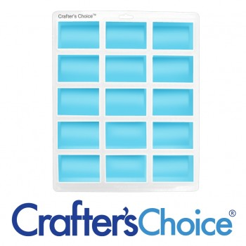 Crafters Choice Euro Rectangle 15 Bar Silicone Soap Mold 1613