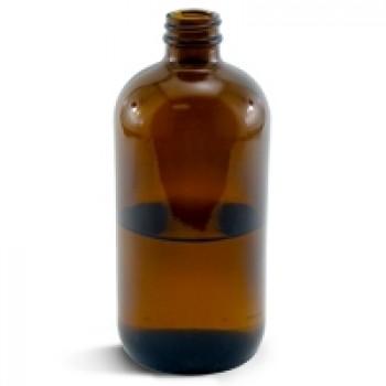 Glass Bottle, Amber 16 oz Boston Round - 28/400
