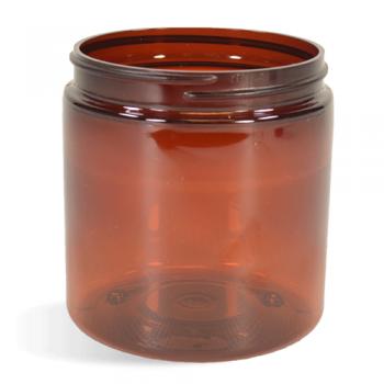 Amber, Basic Plastic Jar - 8oz (70/400)